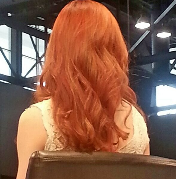 Bright red hair from fashion show