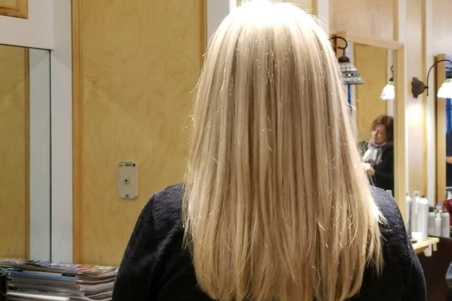 Back of blonde womans head showing off her blonde with brown lowlights